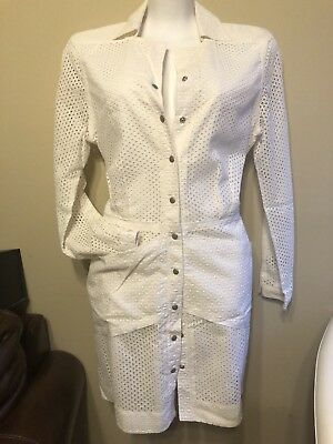 (GORGEOUS, EDUN LONG SLEEVE EYELET COLLARED BUTTON DOWN DRESS, SIZE L, SALE)