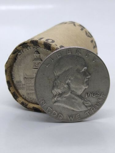 Ben Franklin 50¢!+ONE UNOPENED HALF DOLLAR BANK ROLL MIGHT HAVE 90% SILVER COINS