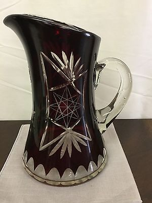VINTAGE BOHEMIAN CZECH RUBY RED CUT TO CLEAR PITCHER 1950's