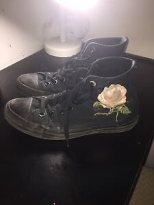 custom diy rose/nasa all black converse chuck taylors