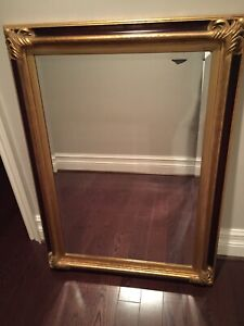 Solid wood mirror with gold edging