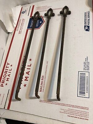 3 Matching Vintage Art Deco Swing Out Curtain Rods Rod Adjustable