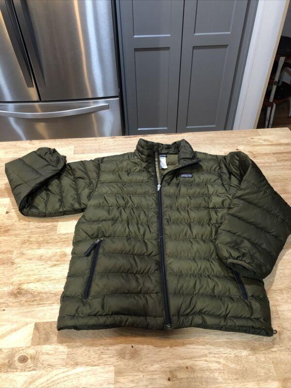 Patagonia Kids Black Down Sweater Puffer Jacket Full Zip Medium (8-10)