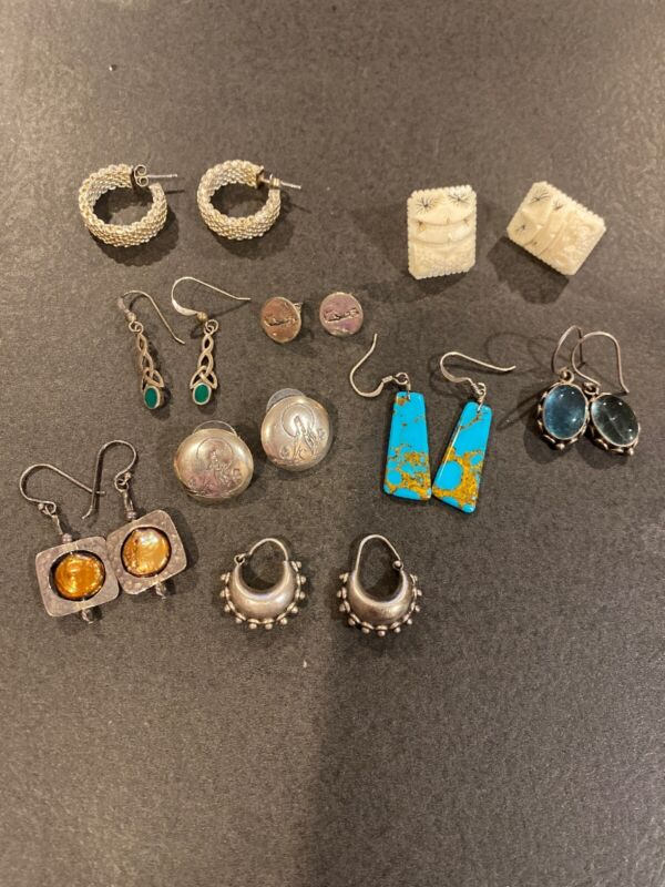 Sterling Silver LOT OF 9 PAIRS  EARRINGS
