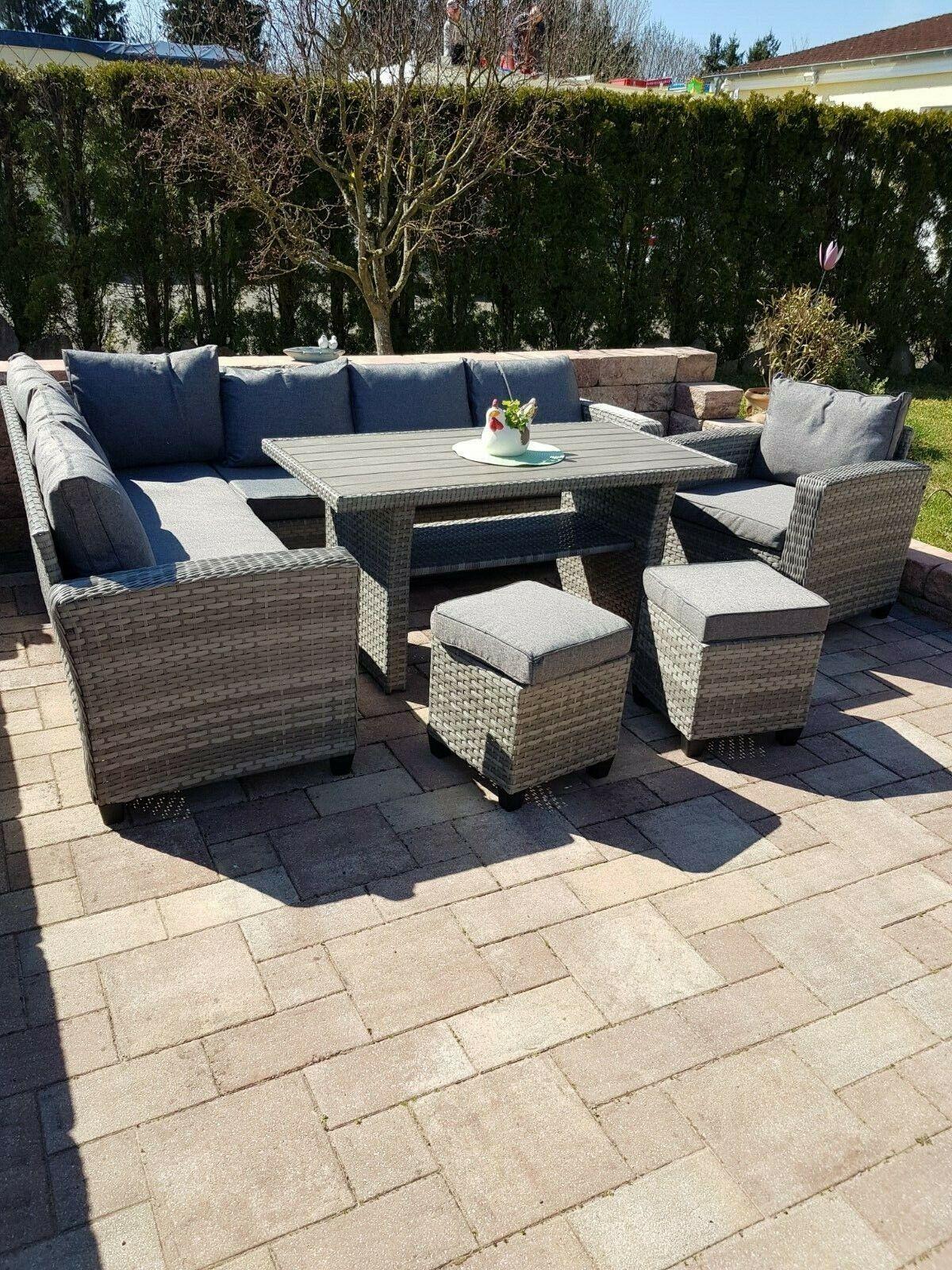 Poly RattanPremium Gartenmöbel Essgruppe Lounge Sitzgruppe Garten Garnitur Alu