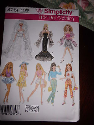 """11 1/2"""" Fashion Doll ( Barbie) Clothing Sewing Pattern ~ Simplicity #4719"""