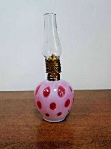 CRANBERRY COIN DOT MINIATURE OIL LAMP - FENTON? LG WRIGHT?