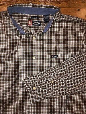 7ee8410ffd75 Chaps Men's 2XL Easy Care Button Front Shirt Brown Blue Check Button Down  Collar