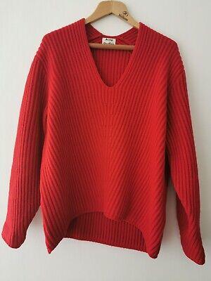 Acne Studios 'Deborah' Orange 100% Wool V Neck Jumper Size Medium RRP £300.00