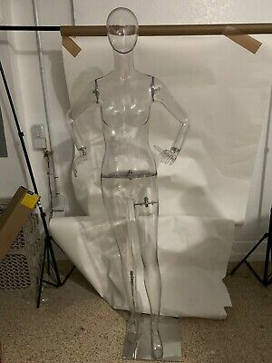 Clear Acrylic Transparent Egghead Female Mannequin With Metal Base