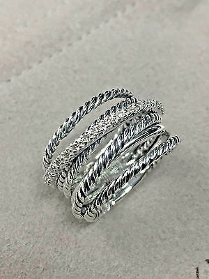 - David Yurman Sterling Silver 925 Crossover Wide Cable Pave Diamond Ring Size 8