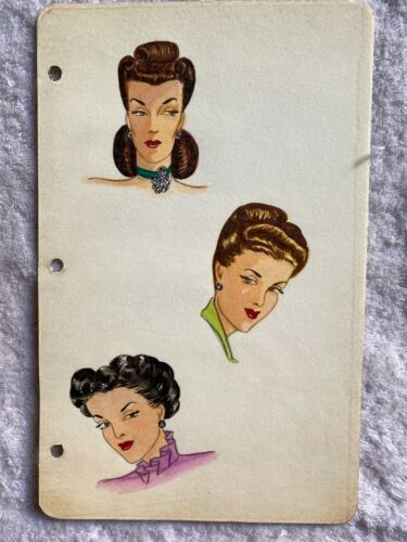 Fashion illustration watercolor painting 1950s? hairstyle decor for hair salon