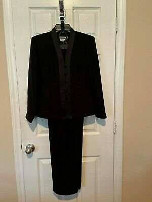 Womans Maggie London Petites Black  Pant Suit - Size 10
