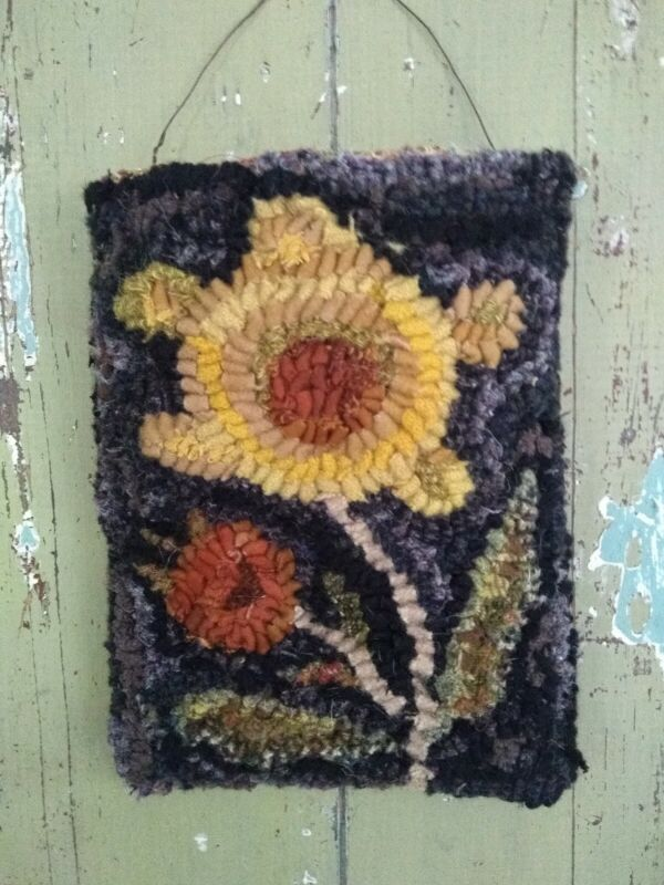 Primitive hand hooked wool rugs