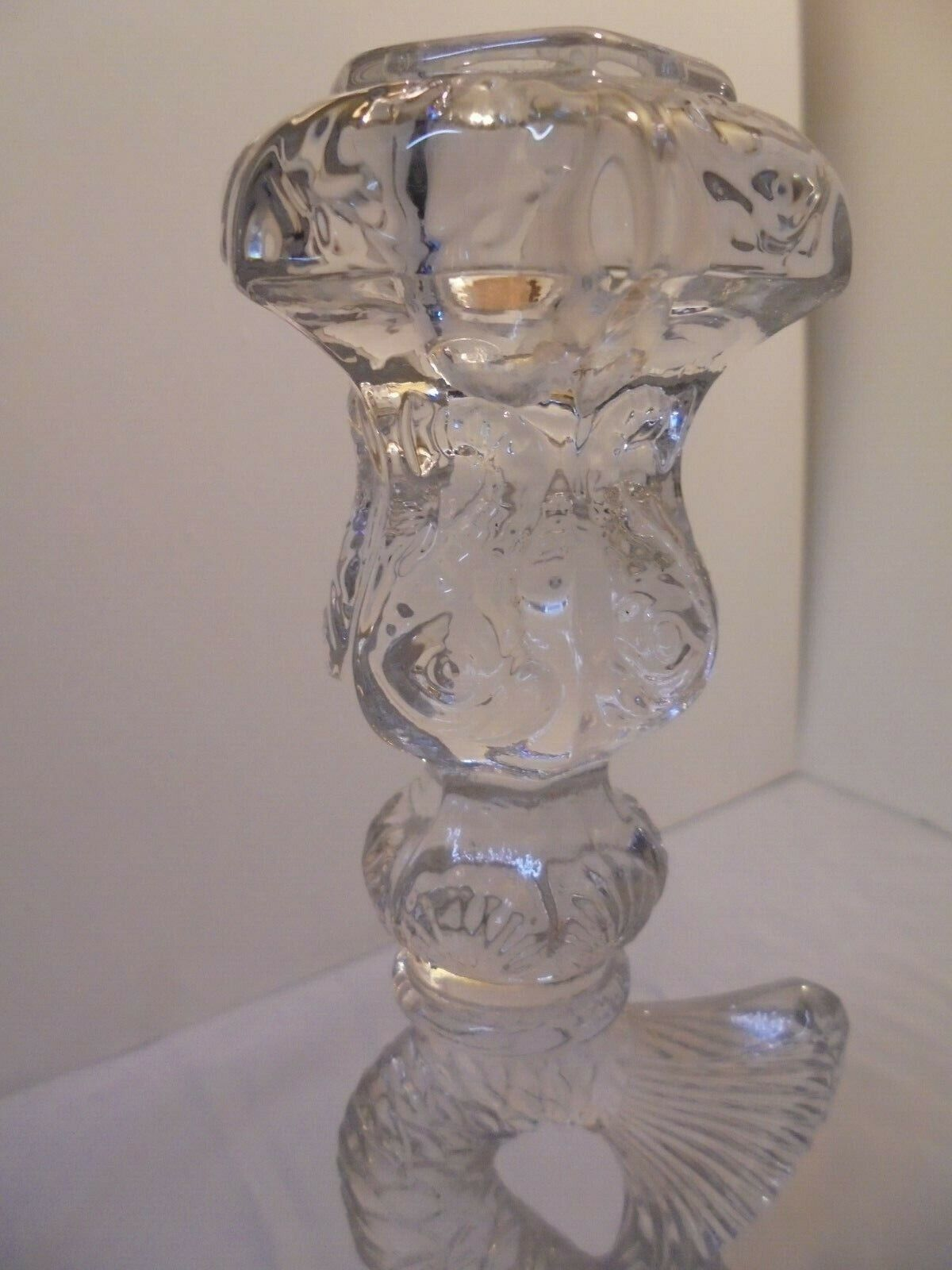 CLEAR GLASS KOI FISH CANDLESTICK, BY IMPERIAL, MMA, 10.75 TALL 4 ACROSS VINTA - $99.99