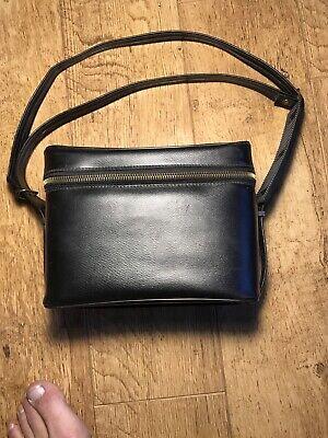 Vintage Black Camera Hard Case Bag Zipper Red Liner shoulder strap