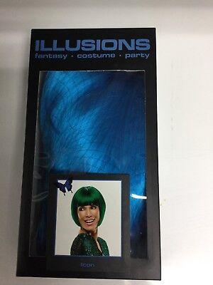 ICON Coco Channel TEAL BLUE Costume Fashion Fantasy Bob Wig, Halloween - Teal Wig