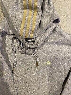 Womens Adidas Hoodie Hoody UK10 VGC Grey Gold Stripe