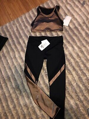 NEW Women's Fabletics Outfit Black & Copper Bronze Mesh Legging Yoga Size Small