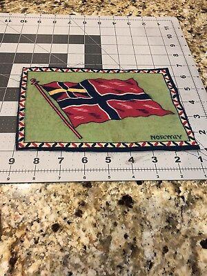"1900'S FELT BLANKET 8"" X 5 1/4"" NORWAY FLAG TOBACCO"