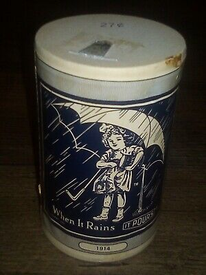 Vtg. MORTON'S SALT Cardboard Container 1914 umbrella advertising girl RARE