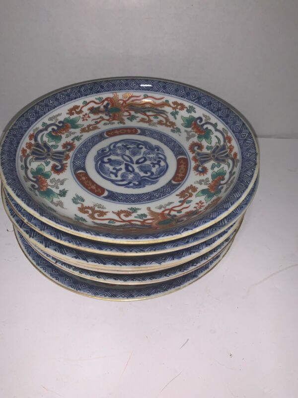 Antique Set Of 6 Chinese Handpainted Plates