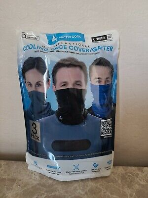 NEW 3 Pack Arctic Cool Cooling Face Gaiter Cover GREY BLUE BLACK Unisex One Size