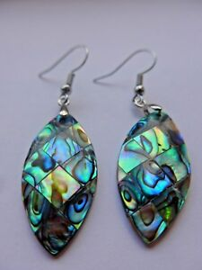 Abalone Shell Marquise Oval Silver Hook Drop Dangle Earrings Mother of Pearl FAB