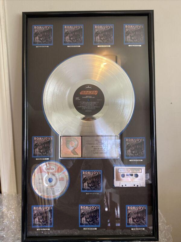 Jon Bon Jovi RIAA Award Slippery When Wet 10 Million Sales Multi-platinum Award
