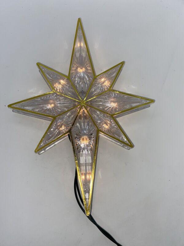 Vintage Christmas Star Lighted Tree Topper Jewel Starburst White