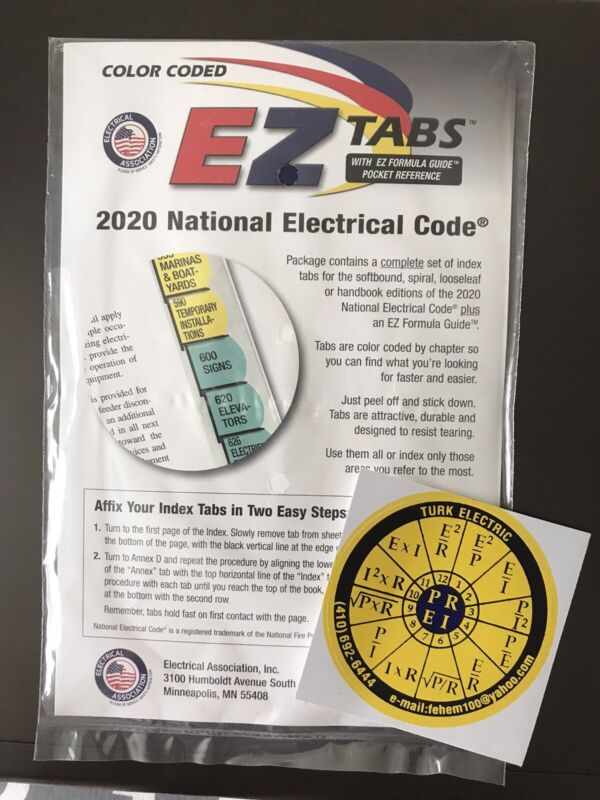 Authentic 2020 Color Coded EZ Tabs NEC Code NFPA/Formula G.+ Ohms law sticker