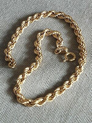 """9ct 9K Gold Rope Bracelet/ Chain. """" long. Fully hallmarked 9ct. Scrap or wear, used for sale  Shipping to South Africa"""