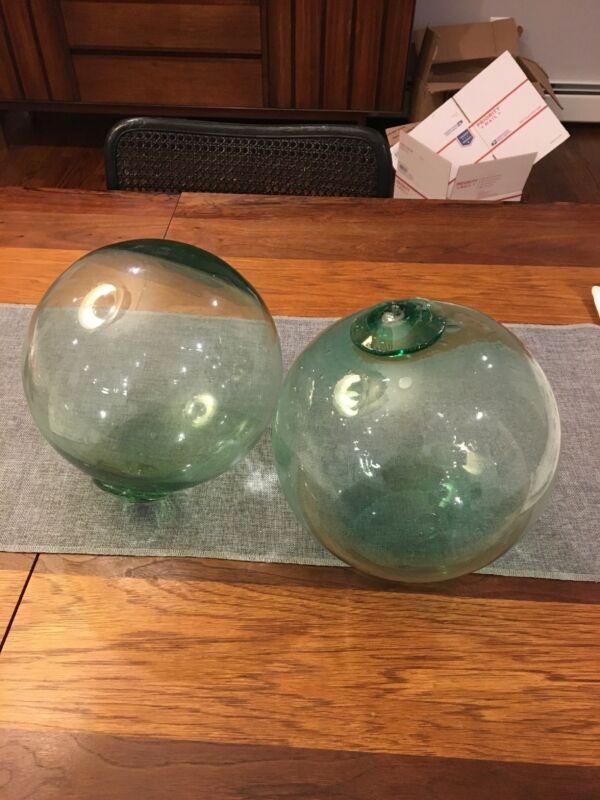 "Awesome Pair (2) Large 28"" Glass Fishing Float Buoys Aqua Green/Blue"