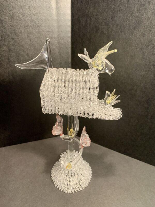 "Spun Glass Mailbox With Birds & Flowers Figurine 9"" Tall"