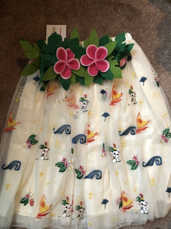 NWT Hanna Andersson Disney Dress Up Moana Tulle Skirt Size L+ Crown FREE SHIP