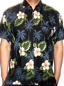 mens sexy black floral tropical palmtree hawaiian wedding