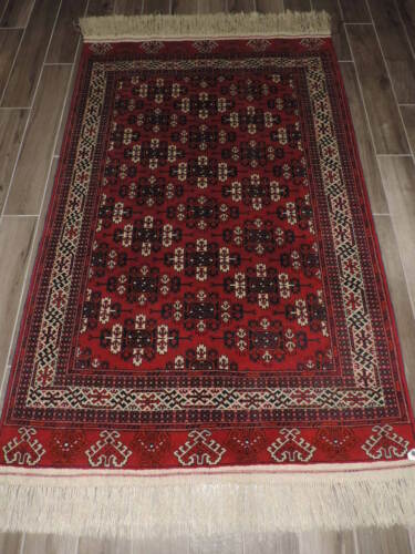 4x8ft. Handmade Turkoman Bokharra Kepse Wool Rug