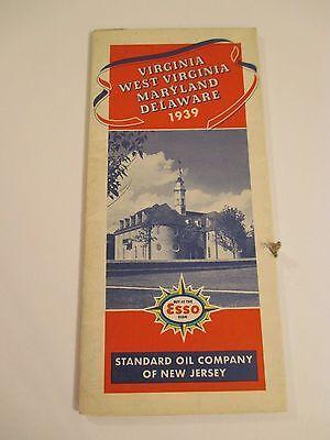 Vintage 1939 ESSO STANDARD OIL VA WV MD DE Gas Service Station Road Map