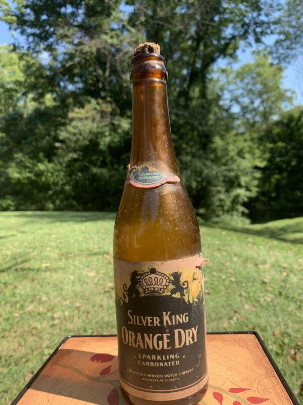 Vintage Silver King Orange Dry Soda Bottle Paper Label & Cork Waukesha Wisc