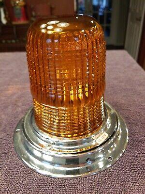 Vintage Yankee 342 Amber Glass Dome Lens Emergency Ambulance Light Norwalk Conn.