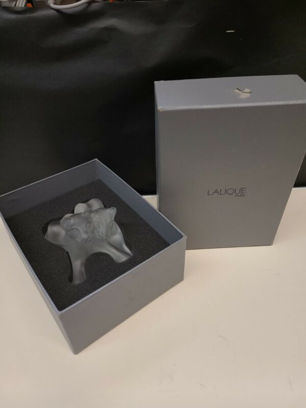 Lalique Crystal Tambwee Lion Cubs in Perfect Mint Condition Retail $850 Signed