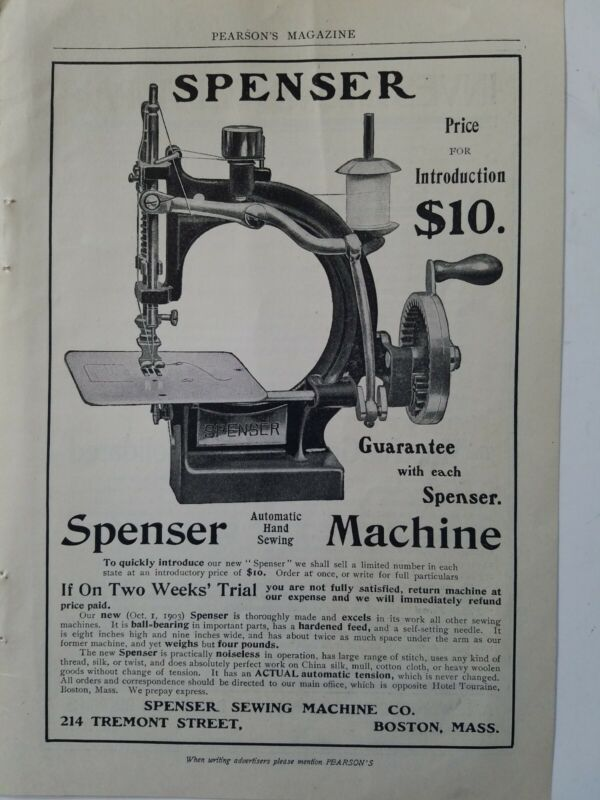 1903 Spenser automatic hand sewing machine Co Boston Massachusetts ad