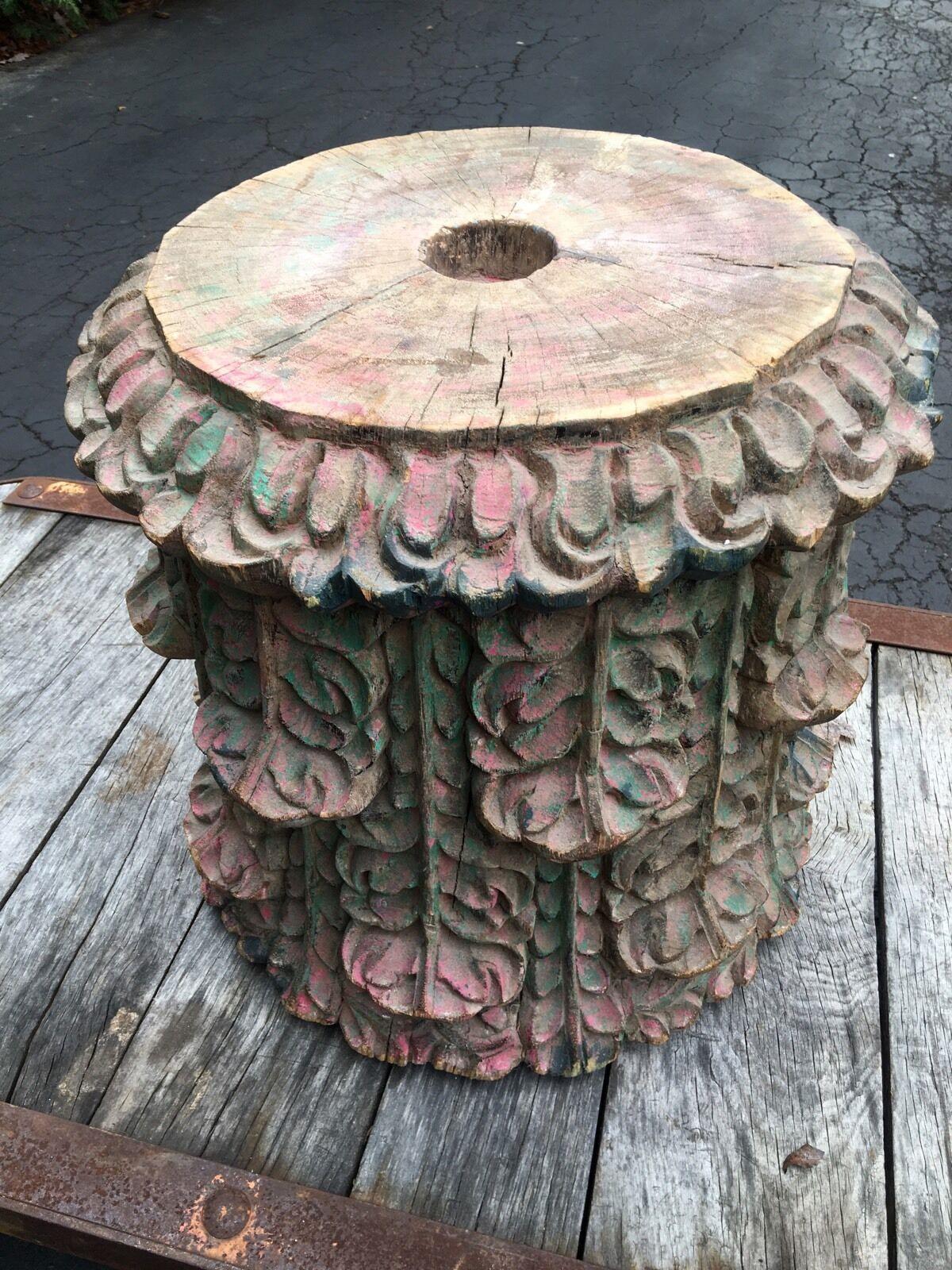 Antique Architectural Building Column Table Paris Industrial End Table 1800 s 2 - $1,100.00