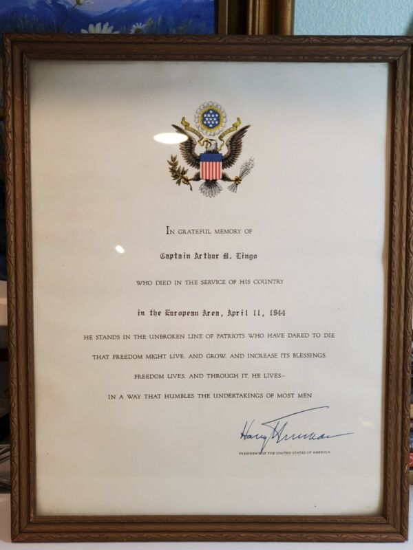 PRESIDENT HARRY S. TRUMAN 1944 SIGNED ARMED FORCES IN MEMORY OF CERTIFICATE