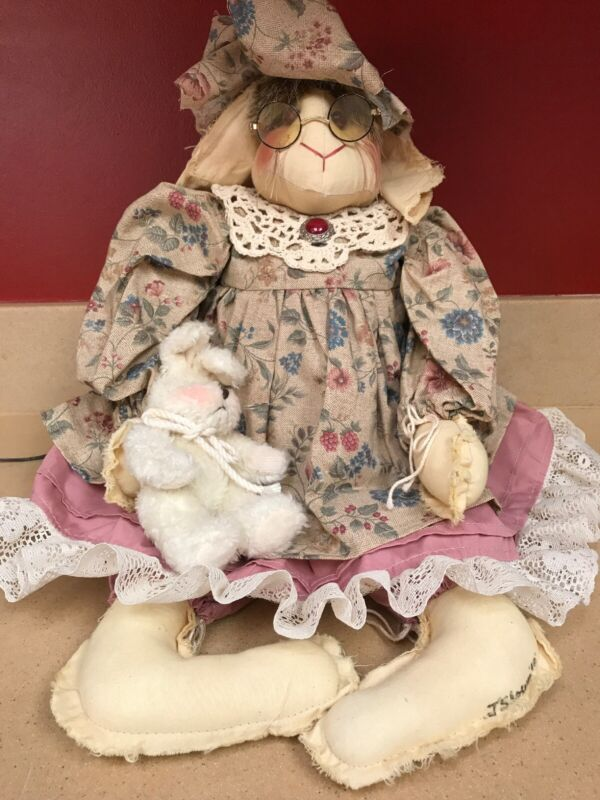 Handmade Easter Bunny Rabbit With Flowered Dress Lace Collar