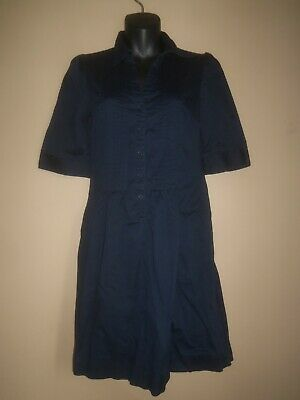 WOMENS H&M BLUE BUTTONED PLEATED COTTON STRETCH SPRING SUMMER DRESS SIZE 6