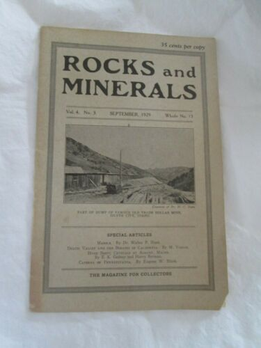"""Vintage ROCKS and MINERALS - September, 1929 - THE MAGAZINE FOR COLLECTORS"""""""
