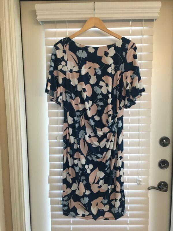 a pea in the pod Taylor Flutter Sleeve Floral Maternity Dress Medium