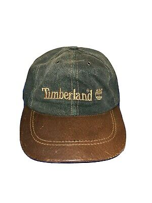 Vintage Timberland Weathergear Denim Baseball Hat Leather Brim Made in USA