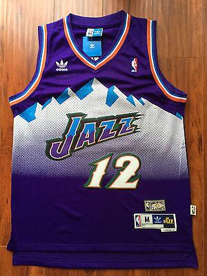 John Stockton Nba Utah Jazz  12 Vintage Hardwood Classics Sewn Purple Jersey Nwt
